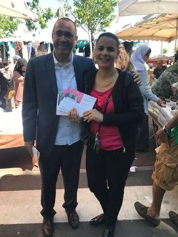 Encore une distribution chaleureuse au marché du Mont-Mesly de #Créteil, ici avec mon amie Ouarda